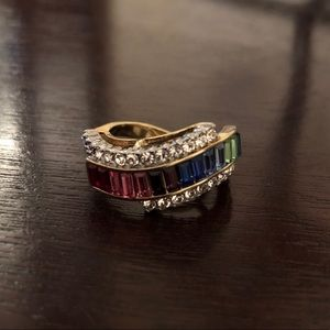 Two Toned Multi Colored Stone Ring